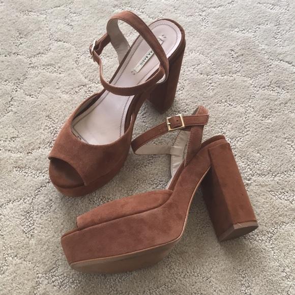 Zara Platform Chunky Heel Sandals